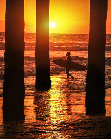 Heading For the Next Set, Huntington Beach, California Metal Print