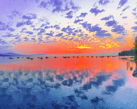 Tahoe Boats Sunrise, Lake Tahoe, California Standard Art Print