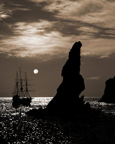 Tall Ship and Full Moon Vertical Sepia, Lands End, Cabo San Lucas, Baja California