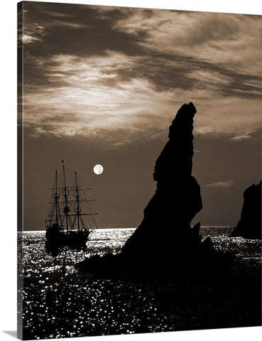 Tall Ship and Full Moon Vertical Sepia Canvas