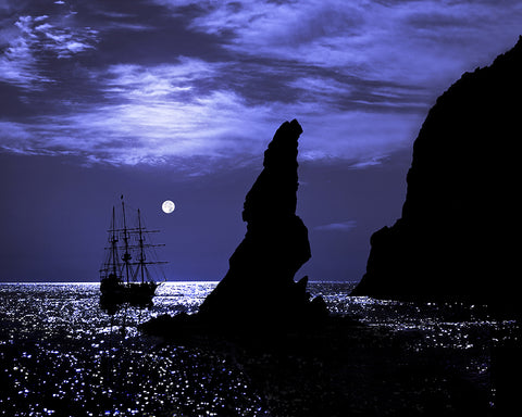 Tall Ship and Full Moon, Lands End, Cabo San Lucas, Baja California