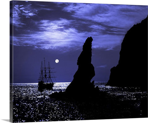 Tall Ship and Full Moon Canvas