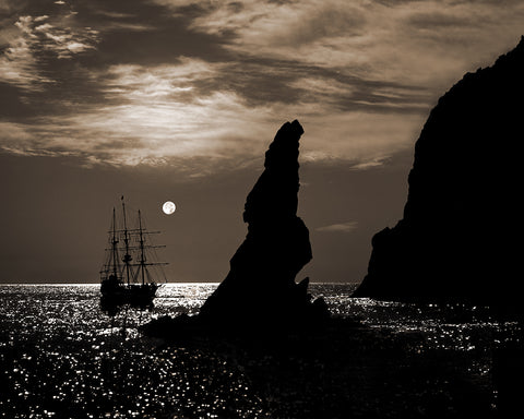 Tall Ship and Full Moon Sepia, Lands End, Cabo San Lucas, Baja California
