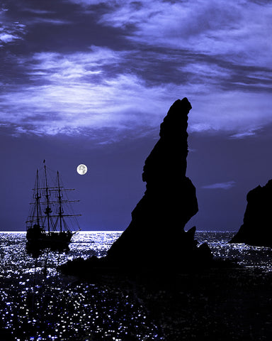 Tall Ship and Full Moon Vertical, Lands End, Cabo San Lucas, Baja California