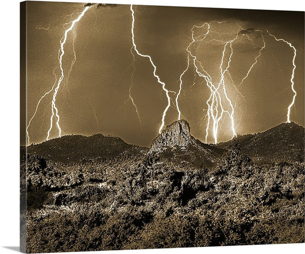 Thumb Butte Lightning Sepia Canvas