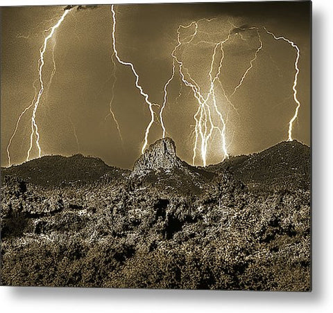 Thumb Butte Lightning Sepia Metal Print