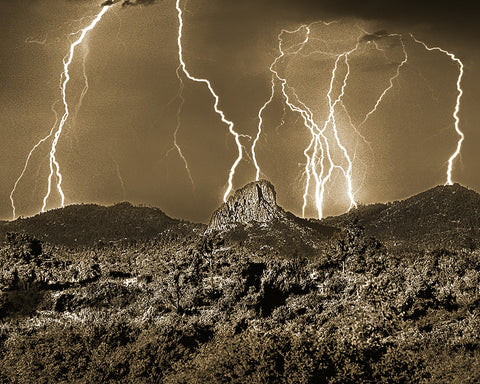 Thumb Butte Lightning Sepia, Prescott, Arizona
