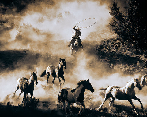 The Last Roundup Sepia Metal Print