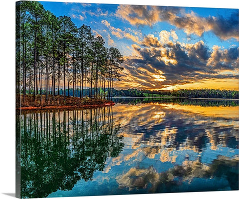 Trees, Lake and Vibrant Sky Canvas