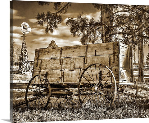 Wood and Wheels Sepia Canvas