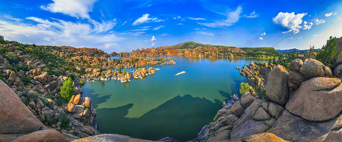 Watson Lake Panoramic Metal Print