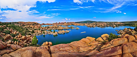 Watson Lake Granite Dells Panoramic Metal Print