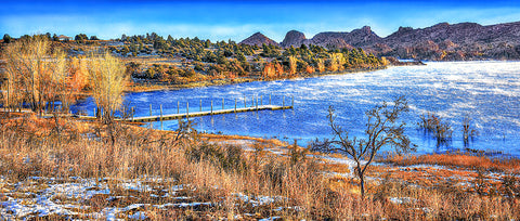 Watson Lake Granite Dells, Winter Panoramic Metal Print
