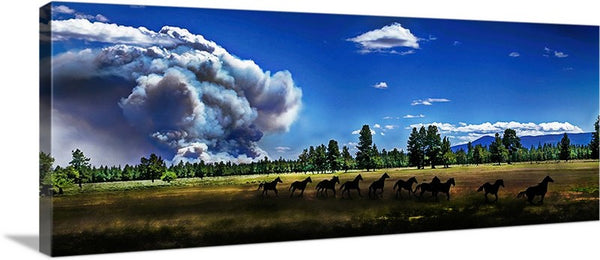 Wild Horse Fire Panoramic Canvas