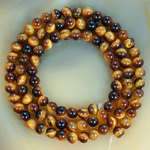 Lot de 95 perles Oeil de Tigre - 4mm