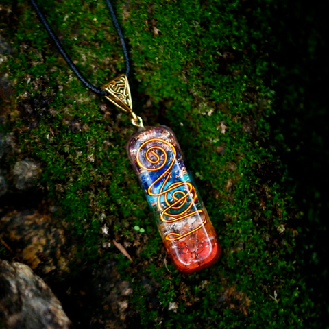 Pendentif 7 Chakras Argôna - Orgonite & Or Antique