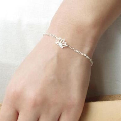 "Ensemble Collier + Bracelet ""Lotus"" - Couleur Argent"