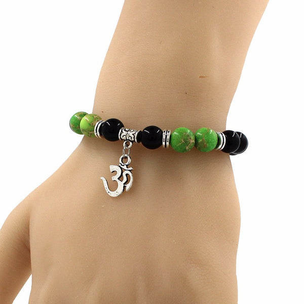 "Bracelet Aum ""Rangîna Graha"" en Pierre Naturelle - 7 couleurs disponibles"