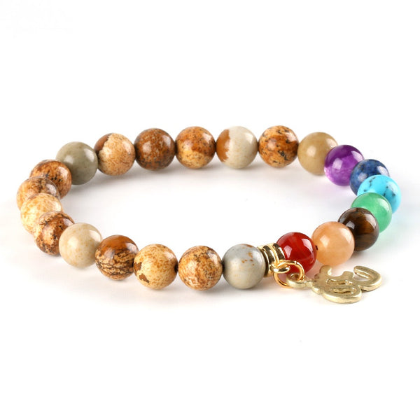 "Bracelet ""Aum & 7 Chakras"" en Pierre Naturelle - 9 couleurs disponibles"