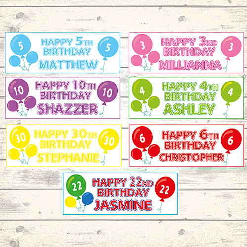 2 Personalised Age Balloon Birthday Banners Choice Of