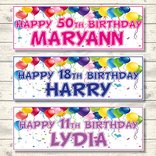 2 Personalised Birthday Banners (Balloon Top