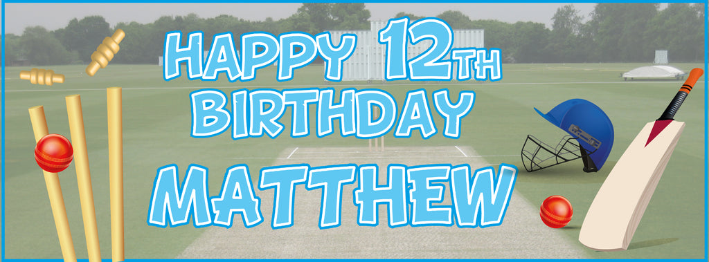 2 x Cricket Personalised Birthday Banners