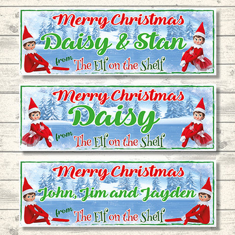 ELF PERSONALISED LARGE CHRISTMAS BANNERS
