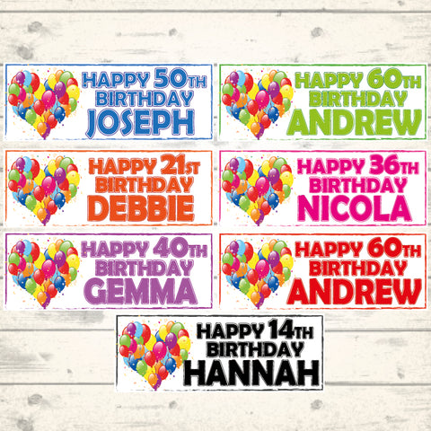 800mm x 297mm CHOICE OF 5 COLOURS 2 PERSONALISED BIRTHDAY BEER PINT BANNERS