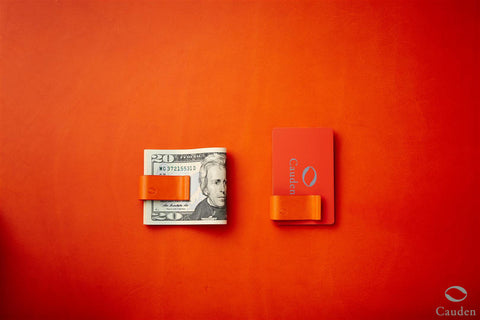 [Orange] Cauden Carbon Fiber Moneyclip Wallet