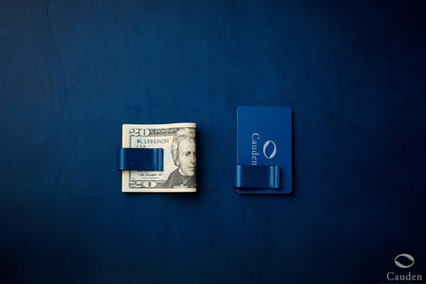 [Blue] Cauden Carbon Fiber Moneyclip Wallet