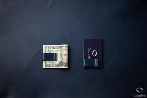[Navy Blue] Cauden Carbon Fiber Moneyclip Wallet