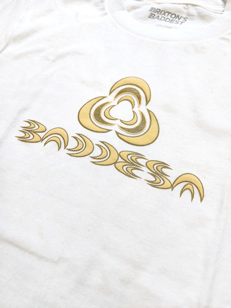 "Brixton's Baddest ""2099"" cream/gold print on white tee"
