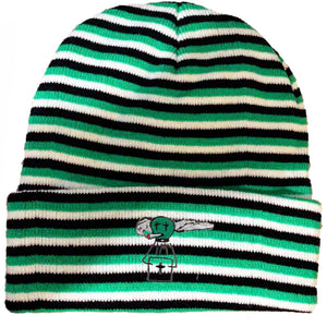 "CTMY ""Alien OG"" beanie (green/black stripy)"