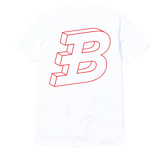 Brixton's Baddest series III red on white tee