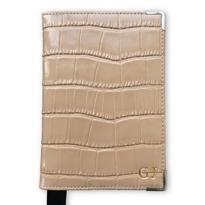 Croc Leather Passport Holder - Nude