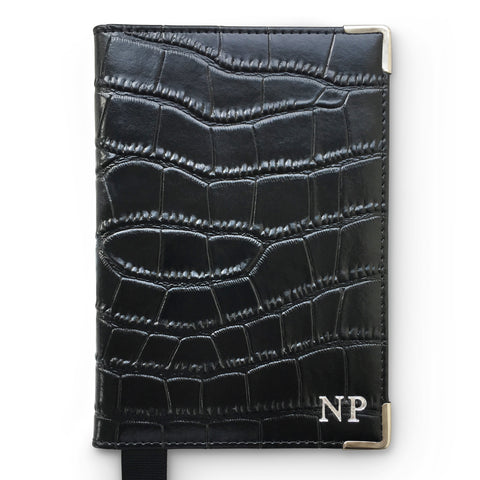 Croc Leather Passport Holder - Black