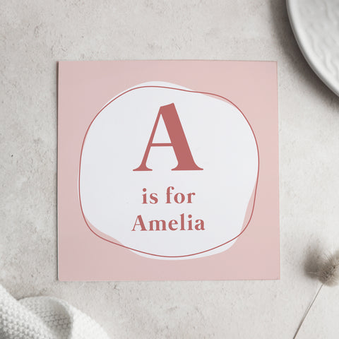 Personalised name Alphabet card Cards Paper and Wool