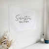 Personalised Script name Nursery wall hanging Baby Paper and Wool