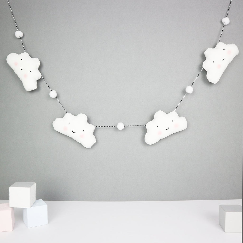 Fabric cloud garland with mini pom poms - Paper and Wool