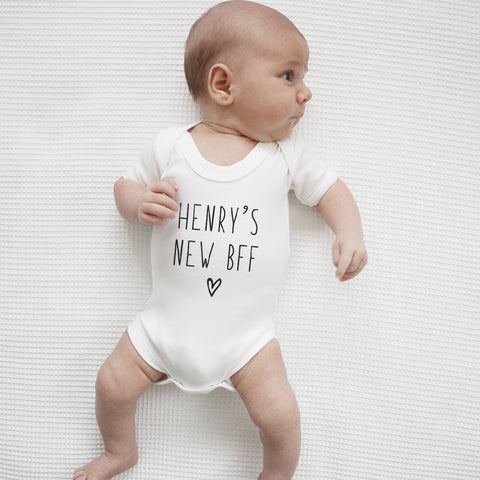 Personalised baby's new best friend short sleeve bodysuit Baby Paper and Wool