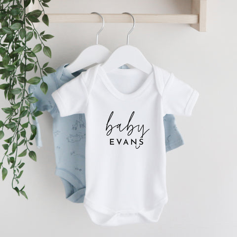 Personalised baby surname short sleeve bodysuit Baby Paper and Wool