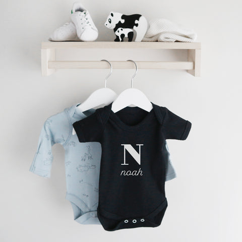 Personalised baby name with letter short sleeve bodysuit Baby Paper and Wool