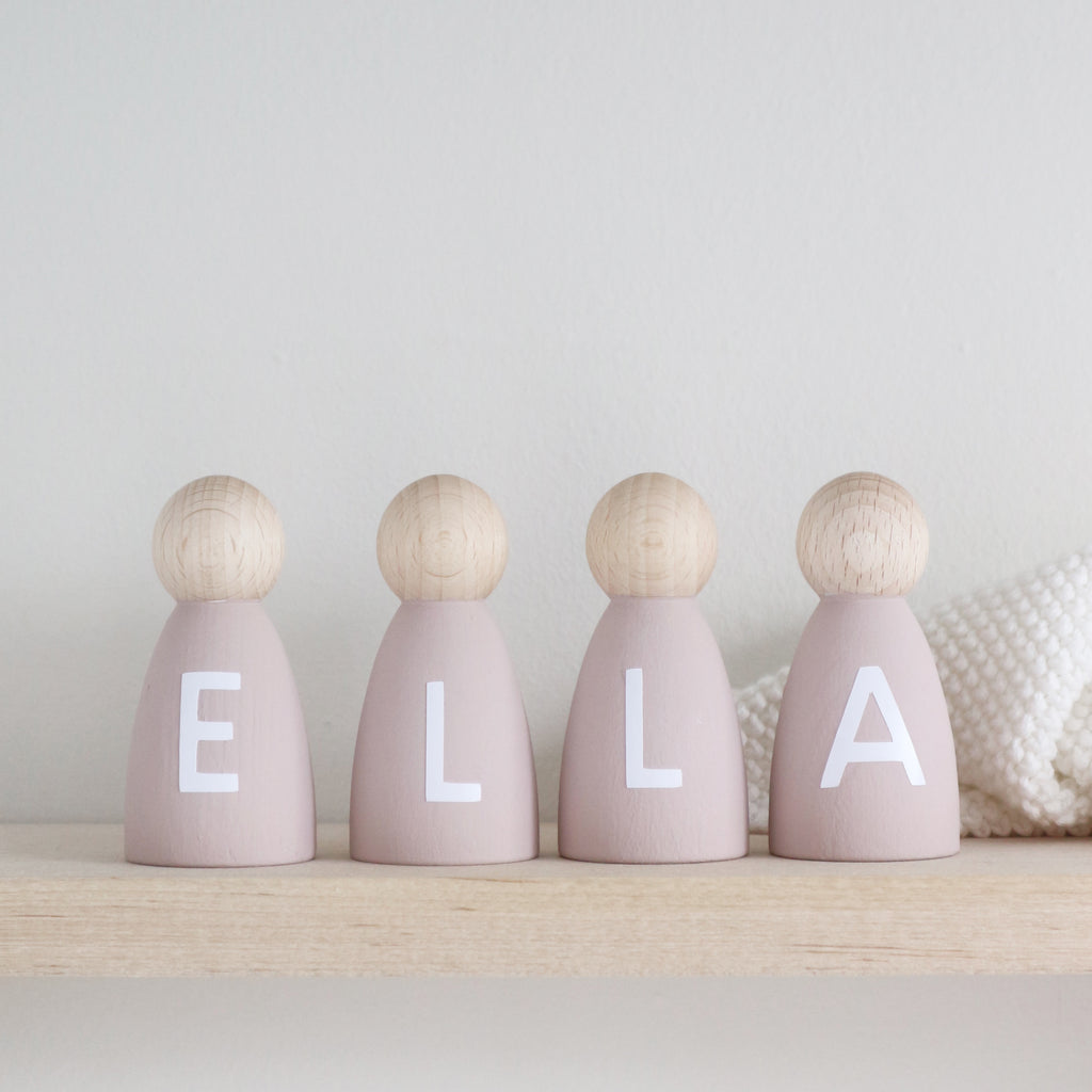 Personalised wooden peg doll decoration - Paper and Wool
