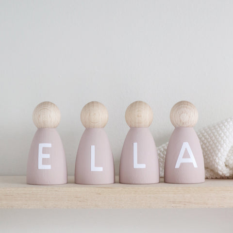 Personalised wooden peg doll decoration Baby Paper and Wool