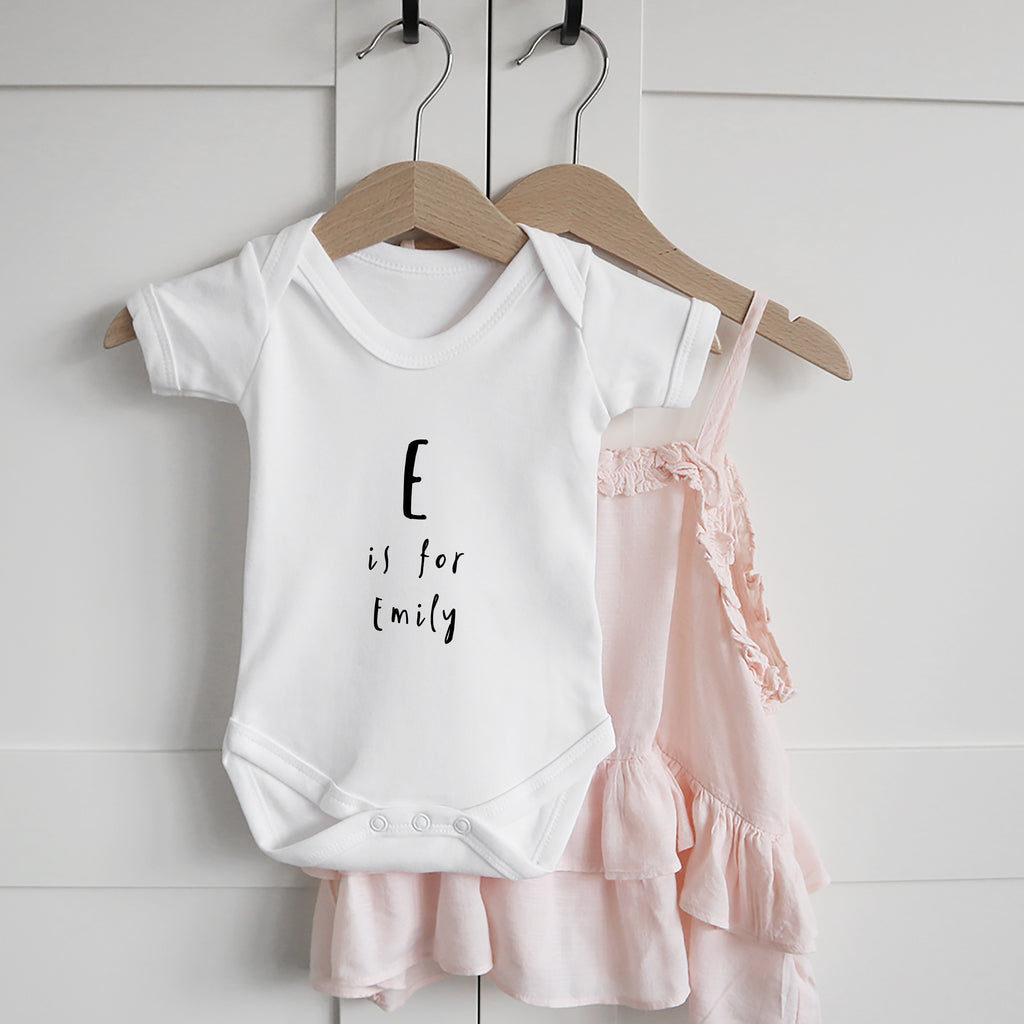 Personalised Alphabet new baby name bodysuit Baby Paper and Wool