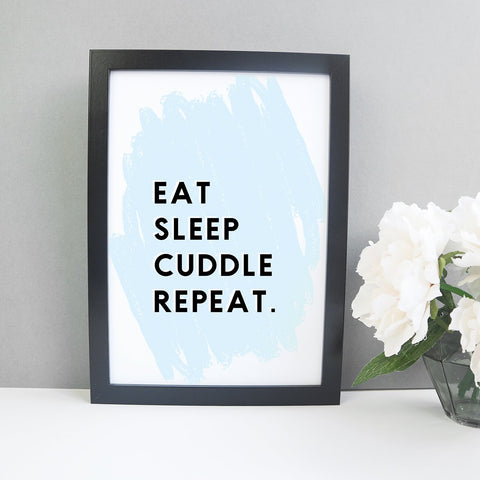 Eat Sleep Cuddle Repeat nursery print - Digital download Baby Paper and Wool