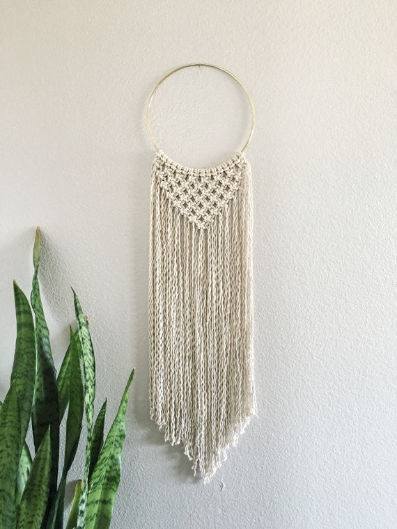 Macramé Brass Ring Wall Hanging