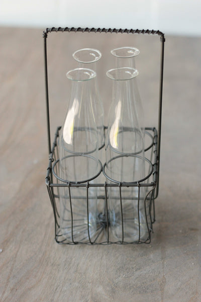 Iris Vase in Wire Basket