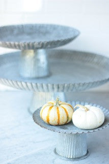Galvanized Fluted Cake Stands