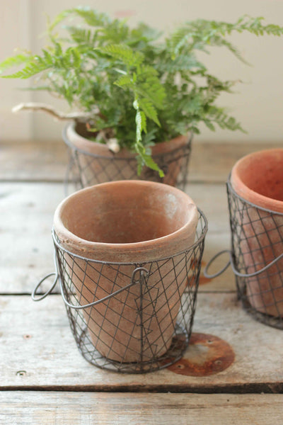 Rustic Pot with Wire Basket